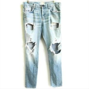 Current Elliot Destroyed Jeans Chewed Back Hem 36